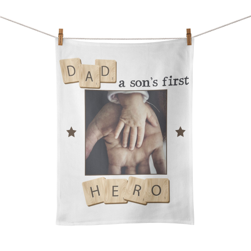 Personalised Dad, A Son's First Hero Tea Towel